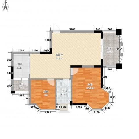 阳光海岸2室1厅1卫1厨96.00㎡户型图
