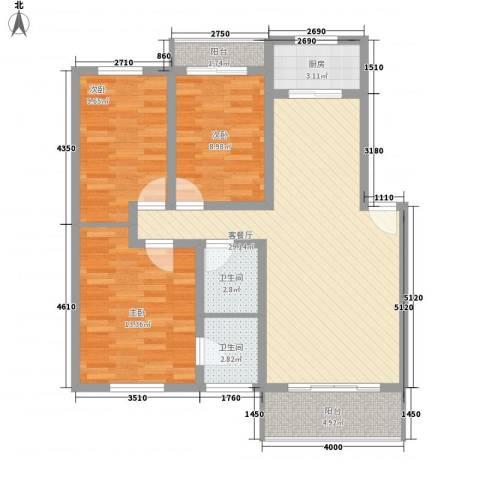 怡景民居3室1厅2卫1厨113.00㎡户型图