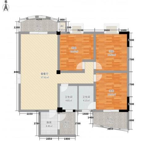 华侨城3室1厅2卫1厨154.00㎡户型图