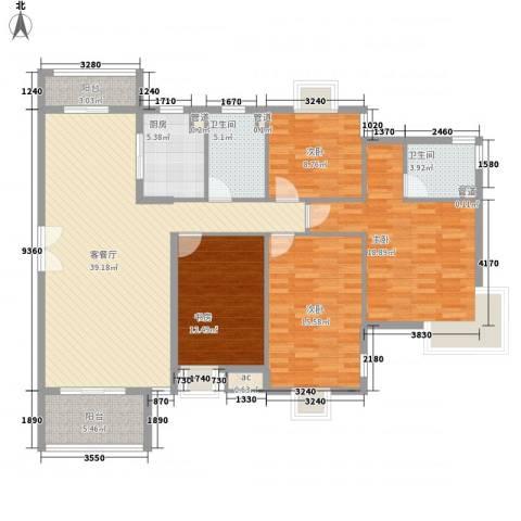 中兴和园4室1厅2卫1厨141.00㎡户型图