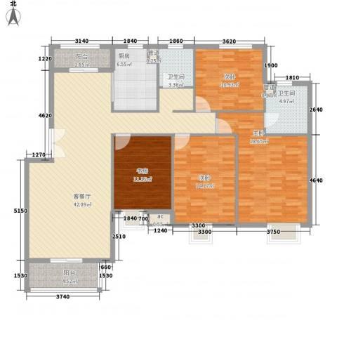 中兴和园4室1厅2卫1厨144.00㎡户型图