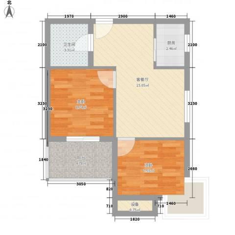 云海观澜2室1厅1卫1厨62.00㎡户型图