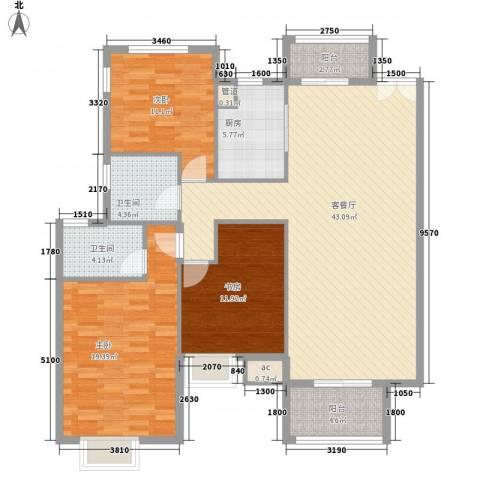 中兴和园3室1厅2卫1厨121.00㎡户型图