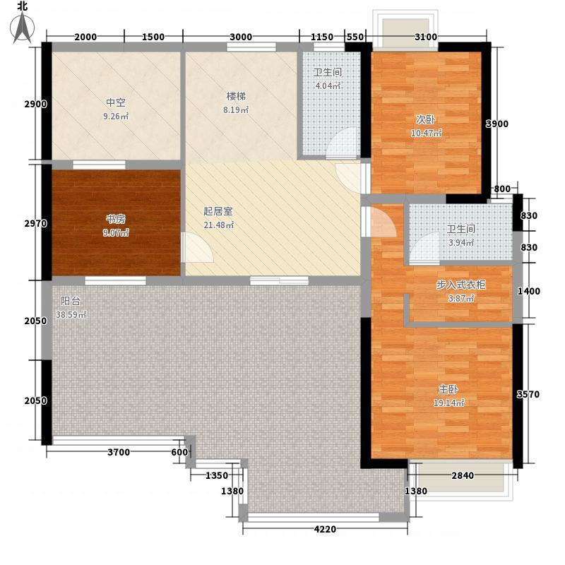 天誉城246.60㎡二期城府8号楼复式C户型二层户型5室3厅4卫1厨