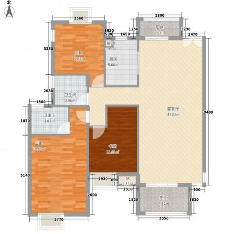 中兴和园3室1厅2卫1厨126.00㎡户型图