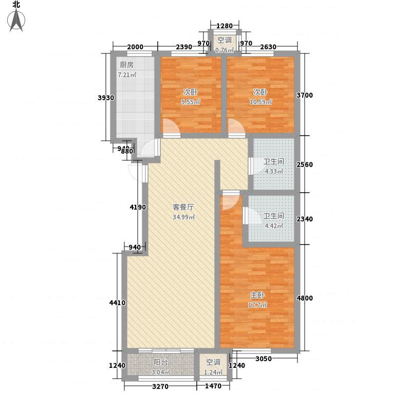 沿海智慧新城128.00㎡标准层H户型3室2厅2卫1厨