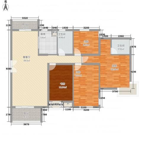 中兴和园4室1厅2卫1厨136.00㎡户型图