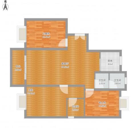荷馨苑3室1厅3卫1厨135.00㎡户型图
