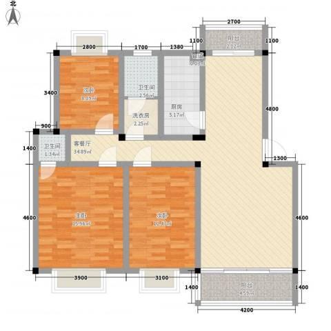 麓谷前堂3室1厅2卫1厨95.00㎡户型图