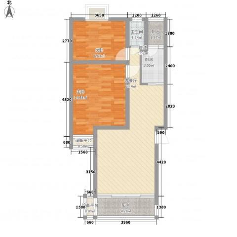 麓谷前堂2室1厅1卫1厨95.00㎡户型图