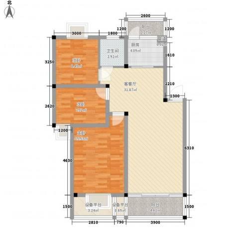 麓谷前堂3室1厅1卫1厨95.00㎡户型图