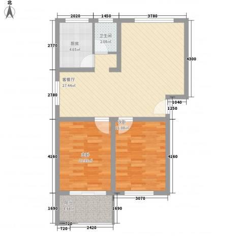 怡景民居2室1厅1卫1厨87.00㎡户型图