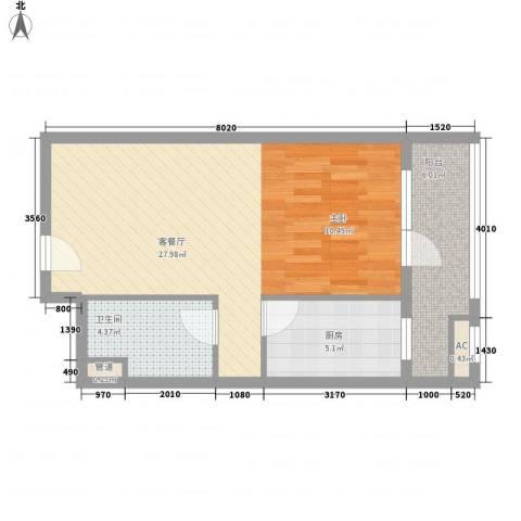 京城豪苑1厅1卫1厨50.40㎡户型图