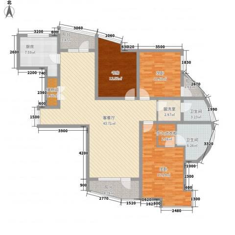 亚辰景院3室1厅2卫1厨137.00㎡户型图