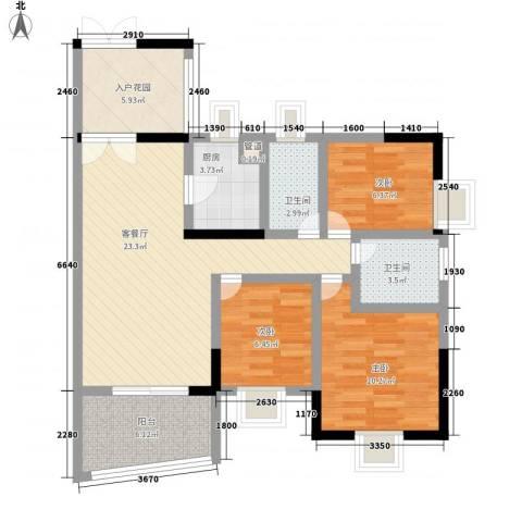 绿海名居3室1厅2卫1厨102.00㎡户型图
