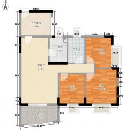 绿海名居3室1厅1卫1厨96.00㎡户型图
