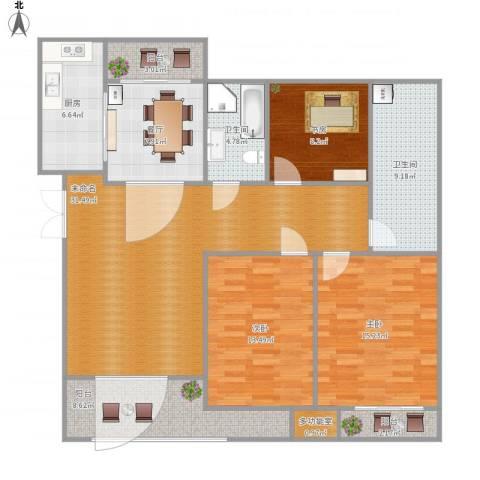 世贸首府3室1厅2卫1厨151.00㎡户型图
