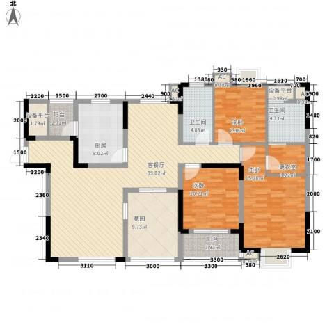 长沙嘉华城3室1厅2卫1厨139.00㎡户型图