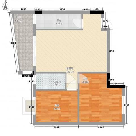 索丽苑2室1厅1卫1厨79.00㎡户型图