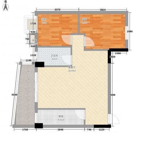 索丽苑2室1厅1卫1厨80.00㎡户型图
