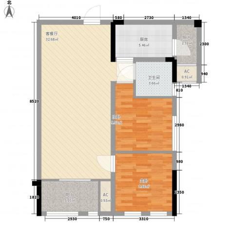 万福花园2室1厅1卫1厨100.00㎡户型图
