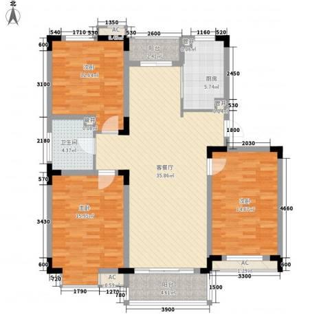 和一花园3室1厅1卫1厨119.00㎡户型图