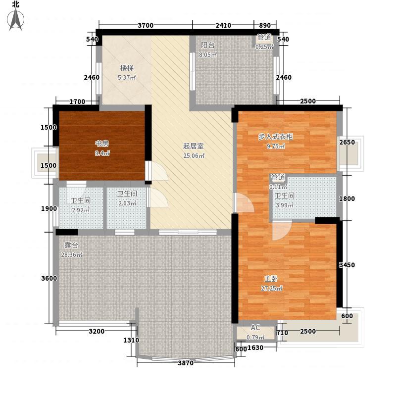 天誉城254.32㎡二期城府8号楼复式B户型二层户型5室3厅4卫1厨