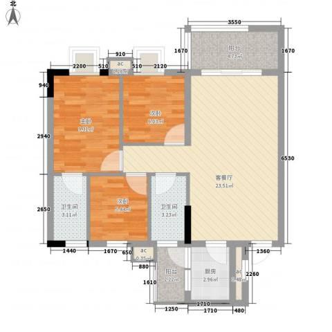 银丰花园3室1厅2卫1厨90.00㎡户型图