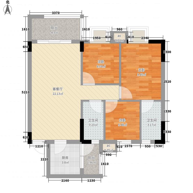 银丰花园88.00㎡银丰花园户型图45-46座02单元2室2厅2卫户型2室2厅2卫