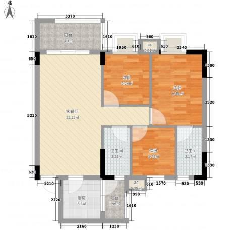 银丰花园3室1厅2卫1厨88.00㎡户型图