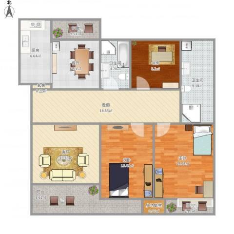 世贸首府3室2厅2卫1厨151.00㎡户型图