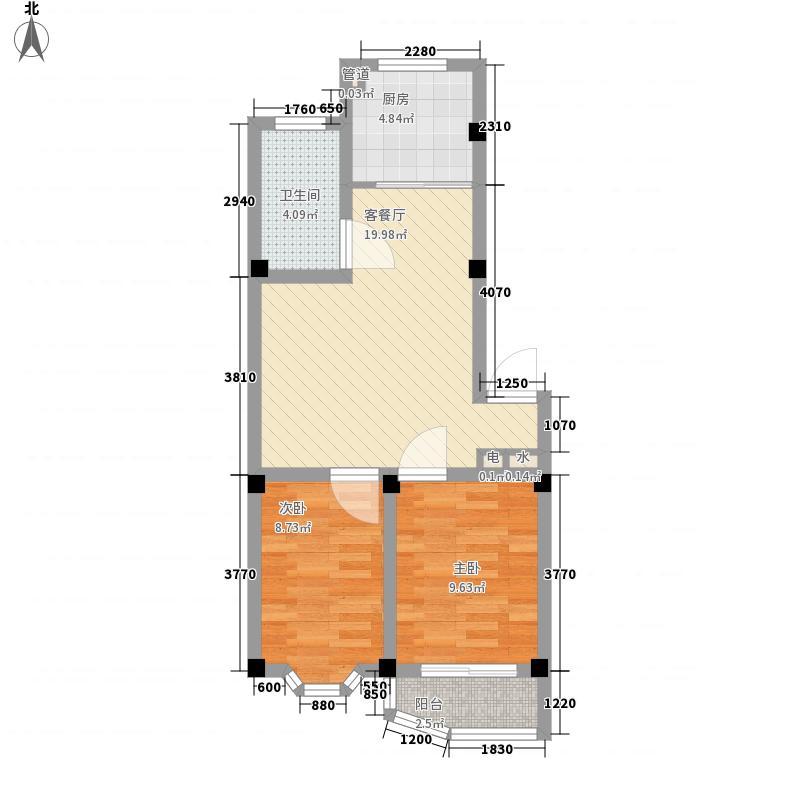 凤林生活72.51㎡小区户型2室2厅1卫1厨