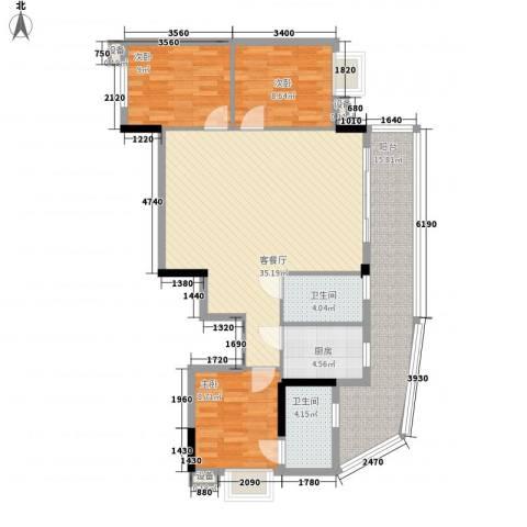 索丽苑3室1厅2卫1厨129.00㎡户型图