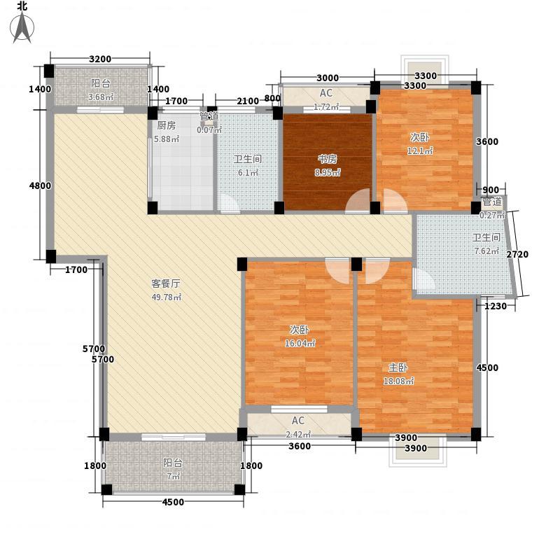 江南世家166.00㎡一期多层36#楼标准层4户型4室2厅2卫1厨