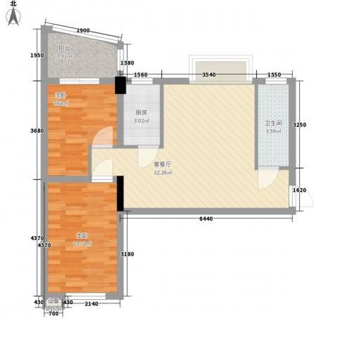 索丽苑2室1厅1卫1厨75.00㎡户型图