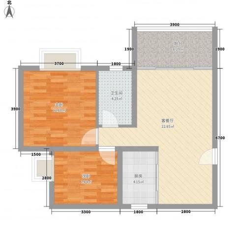 名仕园2室1厅1卫1厨66.18㎡户型图
