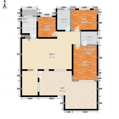 力旺格林春天3室1厅2卫1厨174.77㎡户型图