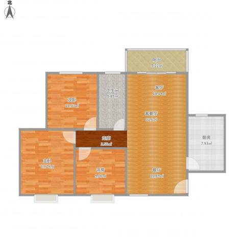 利君制药西厂区生活区3室1厅1卫1厨115.00㎡户型图