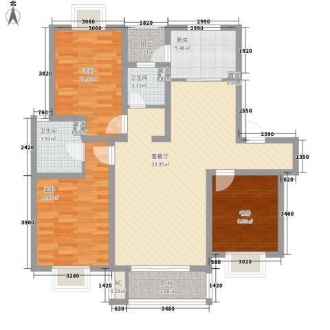 美兰湖颐景园3室1厅2卫1厨124.00㎡户型图