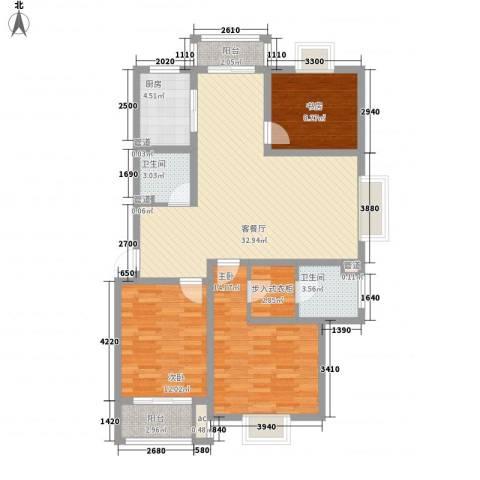 美兰湖颐景园3室1厅2卫1厨127.00㎡户型图
