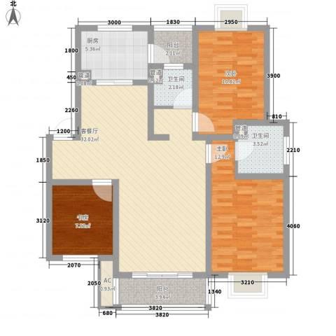美兰湖颐景园3室1厅2卫1厨119.00㎡户型图