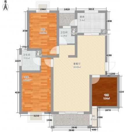 美兰湖颐景园3室1厅2卫1厨116.00㎡户型图