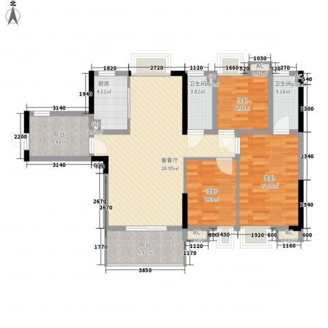 海逸・锦绣公馆3室1厅2卫1厨112.00㎡户型图