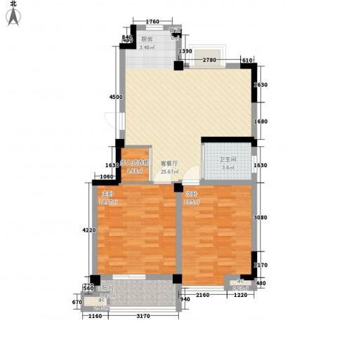 百合心苑2室1厅1卫0厨91.00㎡户型图