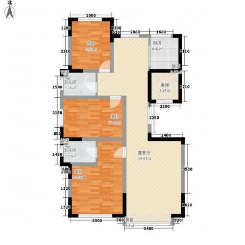 力旺格林春天3室1厅2卫1厨130.00㎡户型图