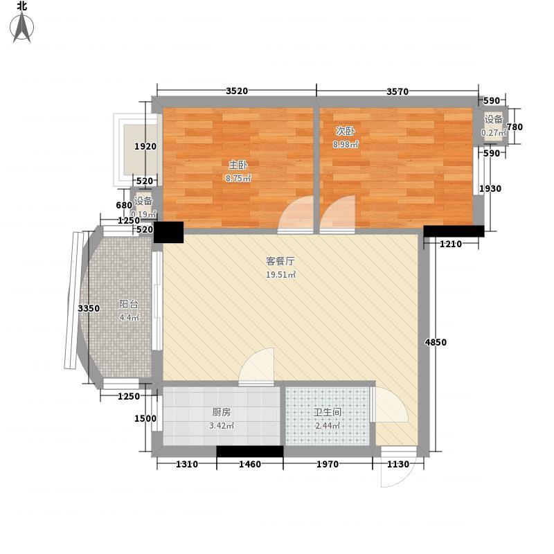 索丽苑69.57㎡索丽苑户型图第三梯01单位2室2厅1卫1厨户型2室2厅1卫1厨