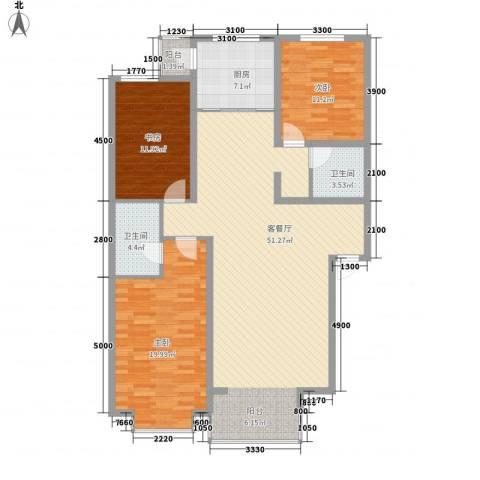 桥华世纪村3室1厅2卫1厨155.00㎡户型图