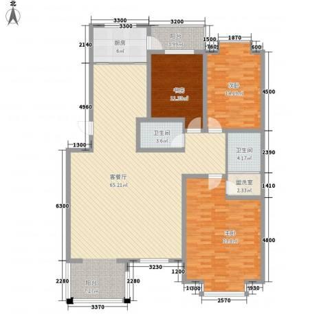 桥华世纪村3室1厅2卫1厨188.00㎡户型图