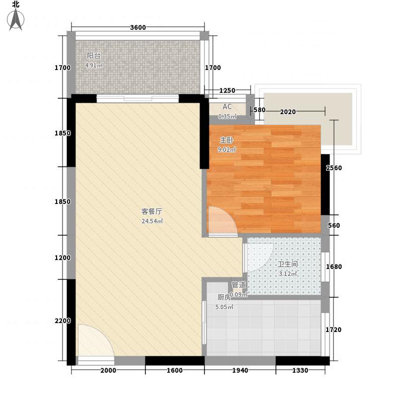 阳光海逸B1户型1室2厅1卫1厨