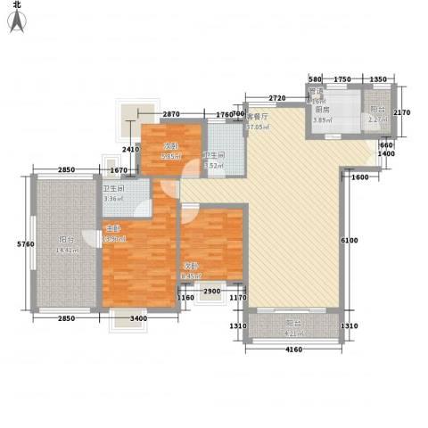 鸿景园3室1厅2卫1厨139.00㎡户型图